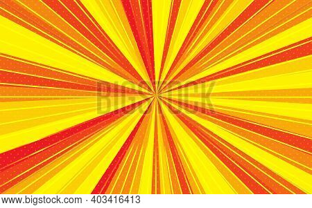 Radial Speed Lines With Focus In Center. Background With Bright Red, Yellow Colors Rays, Stripes. Te