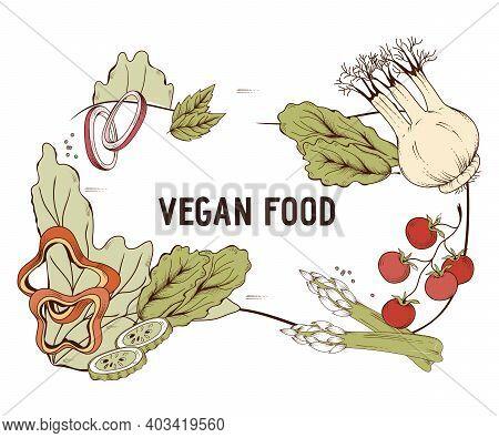 Vegan Or Vegetarian Food Decorative Frame Or Menu Background With Engraving Style Hand Drawn Vegetab