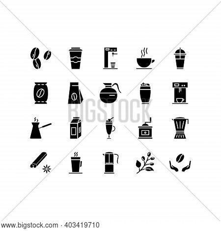 Coffee Line Icon Set. Contains Such Icons As Beans, Hot Cocktail And Coffee Maker Machine, Espresso