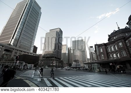 Tokyo - Nov 11 : View Of The Tokyo Station Square, With Office Buildings, Locals And Visitors, In To
