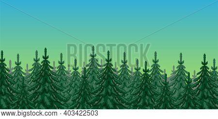 Illustration Of Nature With Spruce Forest Against The Sky.