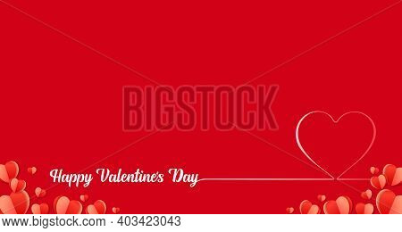 Happy Valentines Day Line Art Heart Red Background. Valentine Greeting Design Template With Calligra