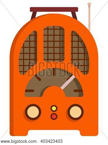 Orange Retro Radio. Outdated Equipment In Cartoon Style.