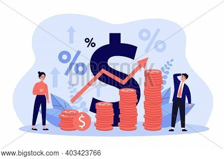 Tiny People Standing Near Piles Of Coins With Growth Arrow Flat Vector Illustration. Cartoon Metapho