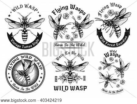 Wild Wasps Black And White Tattoo Vector Illustration Set. Vintage Flying Wasps. Dangerous Insects A