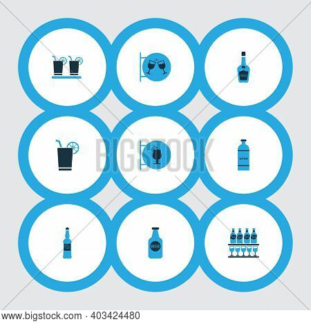 Beverages Icons Colored Set With Bottle Of Wine, Cocktail Sign, Stand Of Beers Vodka Bottle Elements
