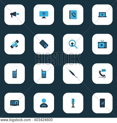 Connection Icons Colored Set With Male Card, Search Dispatcher, Satellite And Other Support Elements