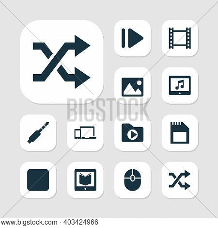 Media Icons Set With Dossier, Sd Card, Image And Other Control Device Elements. Isolated Vector Illu