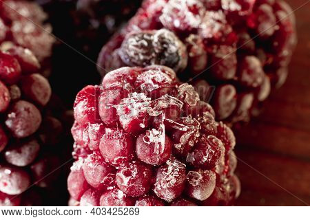 Frozen Blackberries Are Covered In Frost. Blackberry With Ice Close-up.