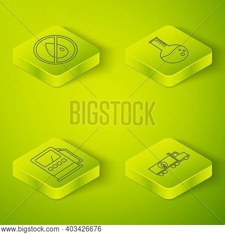 Set Isometric Oil Petrol Test Tube, Petrol Or Gas Station, Tanker Truck And No Oil Drop Icon. Vector