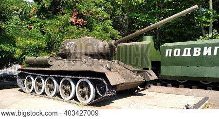Odessa, Ukraine - June 24, 2019: This Is The Most Famous Soviet T-34 Tank During World War Ii At The