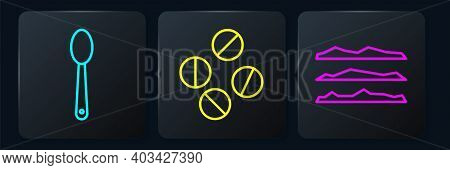 Set Line Heroin In A Spoon, Cocaine Or Heroin Drug And Medicine Pill Or Tablet. Black Square Button.