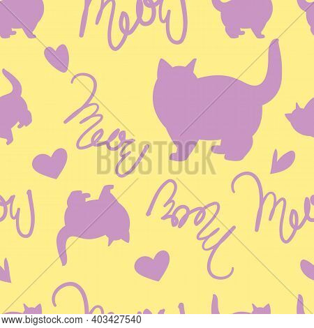 Draw Seamless Pattern Purple Cat With Text Meow. Vector Illustrator Minimalist Cartoon Style. Doodle