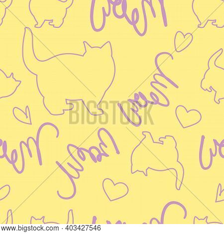 Draw Seamless Pattern Purple Cat Outline With Text Meow. Vector Illustrator Minimalist Cartoon Style