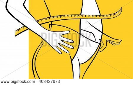 Weight Loss Illustration - Before And After Losing Weight - Slim Woman Putting Big Plus-size Pants W