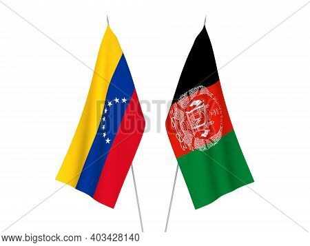 National Fabric Flags Of Islamic Republic Of Afghanistan And Venezuela Isolated On White Background.