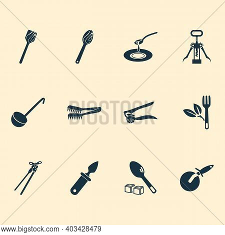 Kitchenware Icons Set With Wooden Spoon, Oyster Knife, Wooden Spatula And Other Teaspoon Elements. I