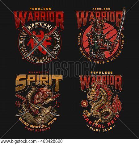 Colorful Japanese Fight Academy Vintage Labels With Inscriptions Katanas Koi Carp Fantasy Dragon Sam