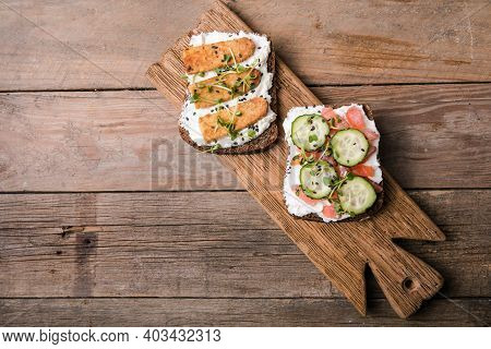 Variety Of Sandwiches For Breakfast, Snack, Appetizers - Tempeh, Salmon, Prawns Grilled Whole Grain