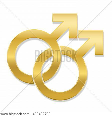 Gay Love Symbol, Golden Emblem Style, Isolated Vector Logo Illustration On White Background.