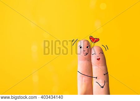 A Happy Finger Family  In Love With Heart Under The Umbrella, Valentines Day. Art Finger People. Lov
