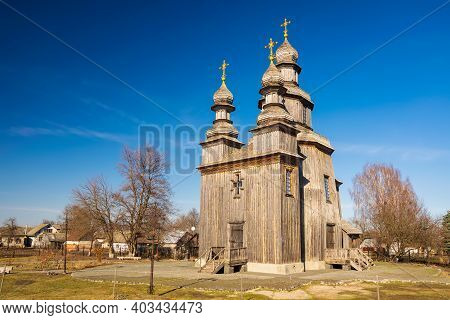 Traditional Wooden George's Church In Sedniv, Chernihiv Region, Ukraine. An Outstanding Example Of T