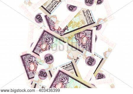 20 Sri Lankan Rupees Bills Flying Down Isolated On White. Many Banknotes Falling With White Copy Spa