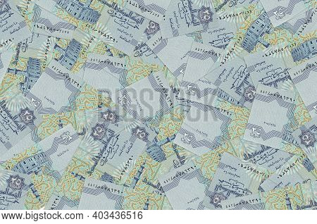 25 Egyptian Piastres Bills Lies In Big Pile. Rich Life Conceptual Background. Big Amount Of Money