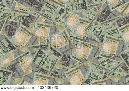 20 Egyptian Pounds Bills Lies In Big Pile. Rich Life Conceptual Background. Big Amount Of Money