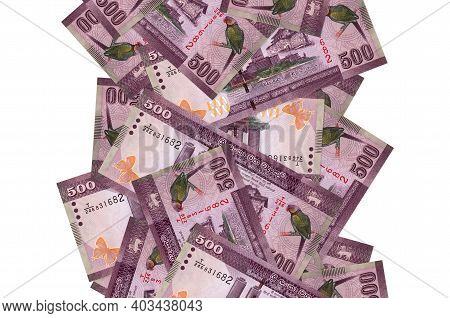 500 Sri Lankan Rupees Bills Flying Down Isolated On White. Many Banknotes Falling With White Copy Sp