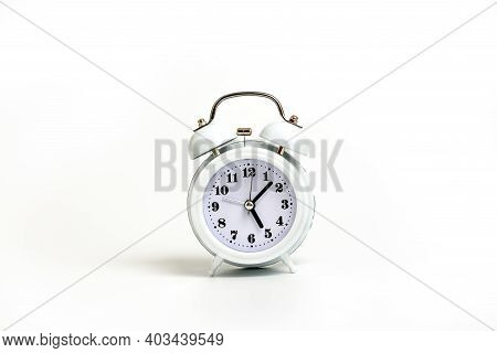 White Alarm Clock On White Background. Time Is Money Mockup. Time-limit. Business Deadline. Copy Spa