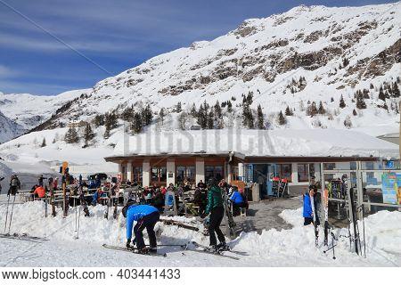 Gastein Valley, Austria - March 10, 2016: People Visit Sportgastein Ski Resort In Austria. It Is Par