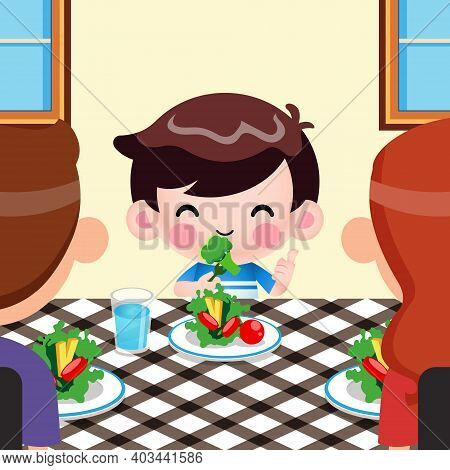 Illustration Vector Graphic Of Cartoon Cute Little Boy Like To Eat Vegetables And Him Parents Apprec