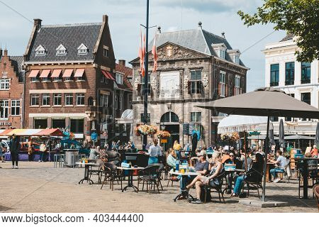 Gouda, Netherlands - July 20, 2020: Markt Square In Gouda, Netherlands