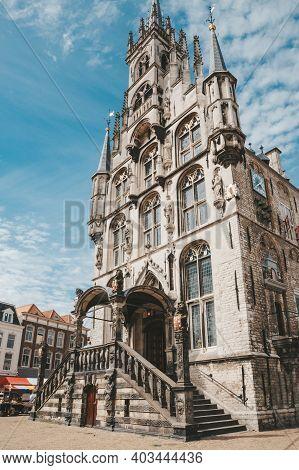 Gouda, Netherlands - July 20, 2020: Gouda Town Hall On Market Square, Netherlands