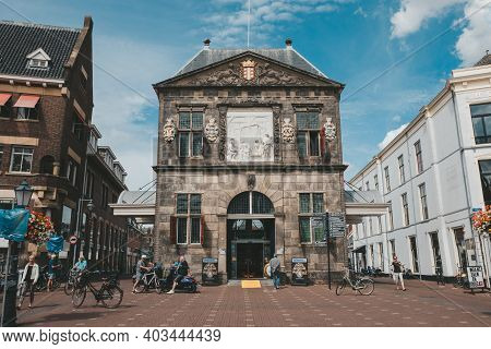 Gouda, Netherlands - July 20, 2020: The Cheese Weighing House At The Markt Square. The Waag Was Buil