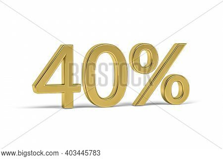 Gold Digit Forty With Percent Sign - 40% Isolated On White - 3d Render