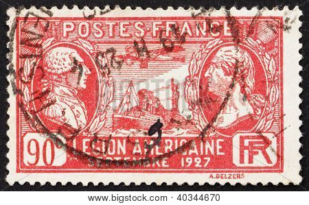 Postage stamp France 1927 Lafayette and Washington