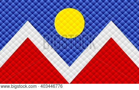 Mosaic Flag Of The Denver - Illustration,  Three Dimensional Flag Of Denver