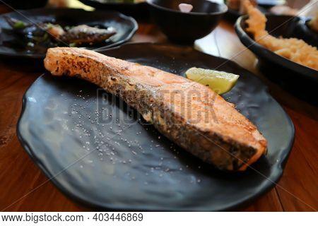 Grilled Salmon, Salmon Steak Or Yaki Sake