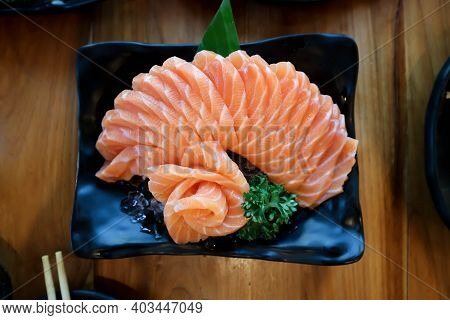Raw Salmon Or Sliced Salmon, Salmon Sashimi For Serve