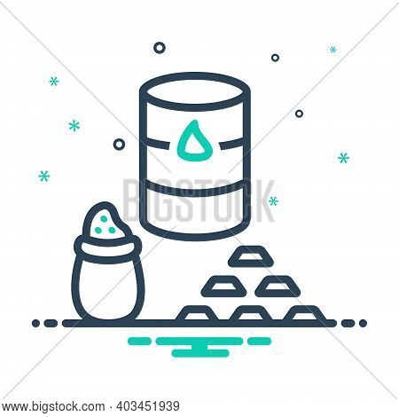 Mix Icon For Commodities Trade Market Crude Gold Price