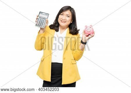 Business Asian Lady People In Yellow Suit Holding Calculator And Piggy Bank Isolated On White Backgr