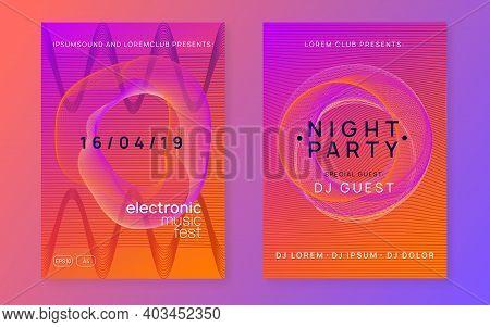 Music Fest. Commercial Show Banner Set. Dynamic Gradient Shape And Line. Music Fest Neon Flyer. Elec