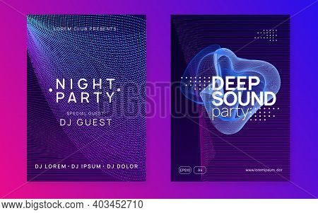 Trance Event. Trendy Show Banner Set. Dynamic Fluid Shape And Line. Neon Trance Event Flyer. Techno