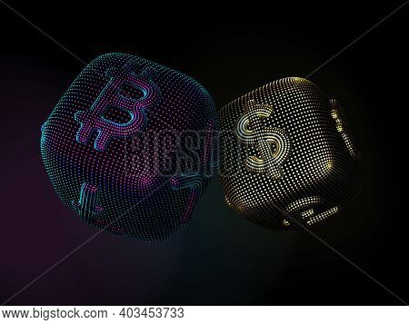 Digital 3d Dices With Cryptocurrency And Fiat Currency Signs Bitcoin And Dollar. Black Background. C