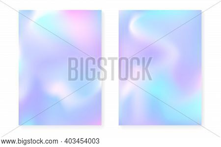 Holographic Gradient Background Set With Hologram Cover. 90s, 80s Retro Style. Pearlescent Graphic T