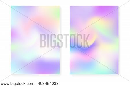 Pearlescent Background With Holographic Gradient. Hologram Cover Set. 90s, 80s Retro Style. Graphic