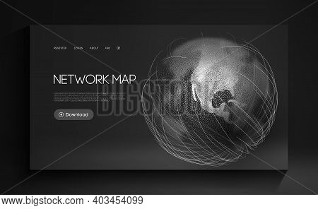 Network Map World Globe Vector. Digital Earth Technology Background. Global Social Network. Abstract
