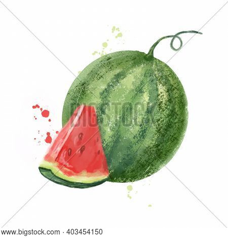 Watermelon Juicy Red And Juicy Piece. Hand Drawn Watercolor Style